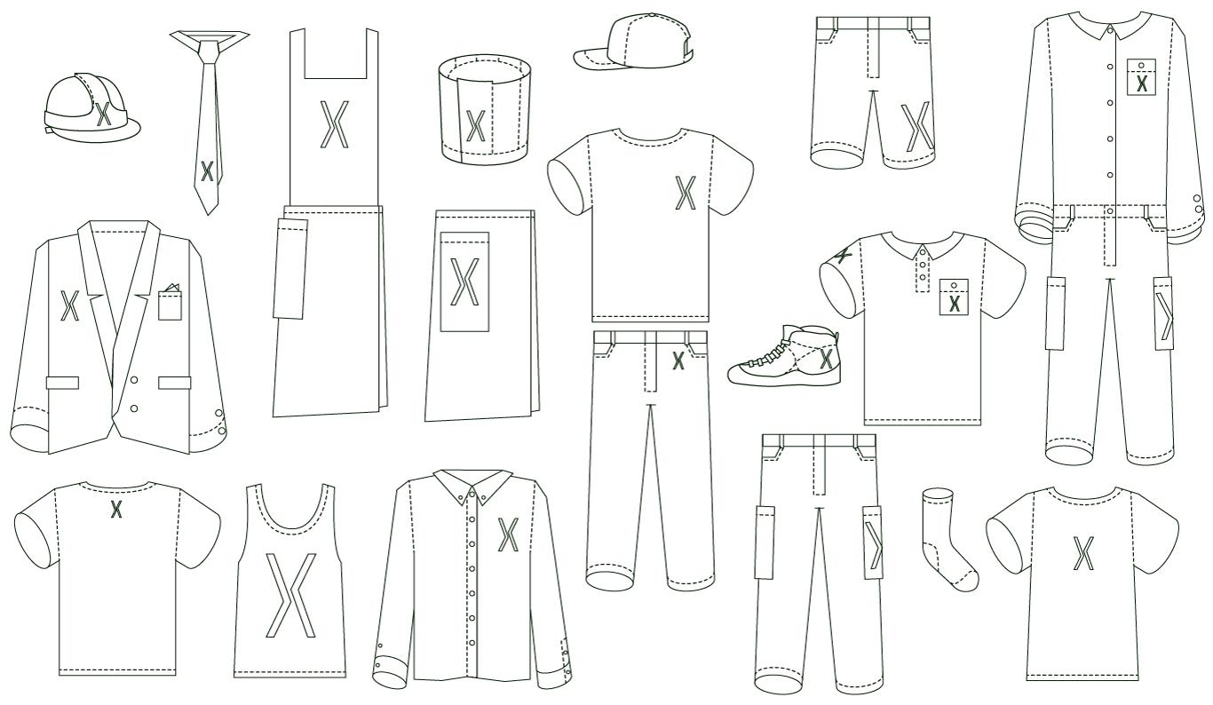 De speciaal voor Ropaflex gemaakte kleding illustraties, onderstrepen beweging en flexibiliteit door de naar voren en naar achteren wijzende mouwen of broekspijpen.