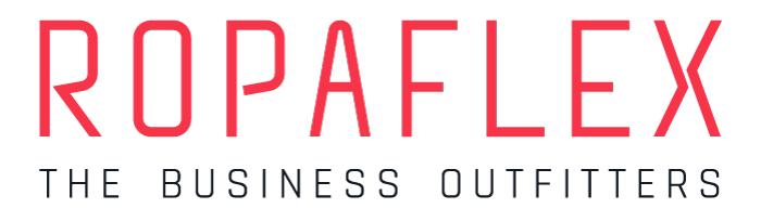 """het naam logo van Ropaflex bevat smalle typografie met openingen en een """"swingende"""" X die flexibiliteit en actie illustreerd."""